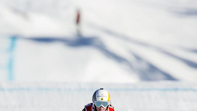 Marielle Thompson of Canada skies to win the Ladies' Ski Cross event, ahead of Sandra Naeslund of Sweden and Alizee Baron of France, during the Freestyle Skiing World Cup in Idre, Sweden