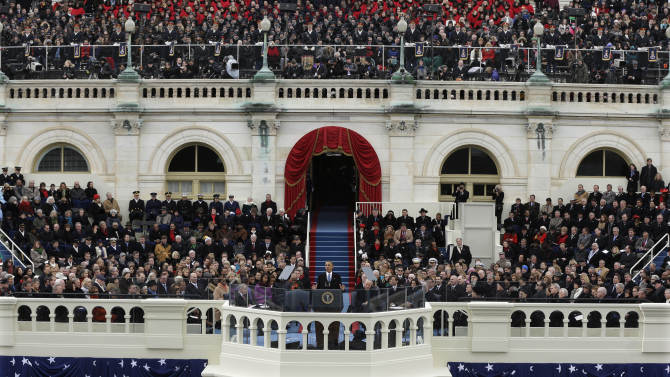President Barack Obama speaks at the ceremonial swearing-in at the U.S. Capitol during the 57th Presidential Inauguration in Washington, Monday, Jan. 21, 2013. (AP Photo/Pablo Martinez Monsivais)