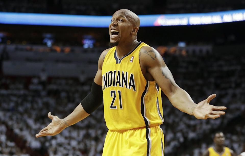 Indiana Pacers forward David West (21) gestures during the second half of Game 1 in their NBA basketball Eastern Conference finals playoff series against the Miami Heat, Wednesday, May 22, 2013 in Miami. (AP Photo/Lynne Sladky)