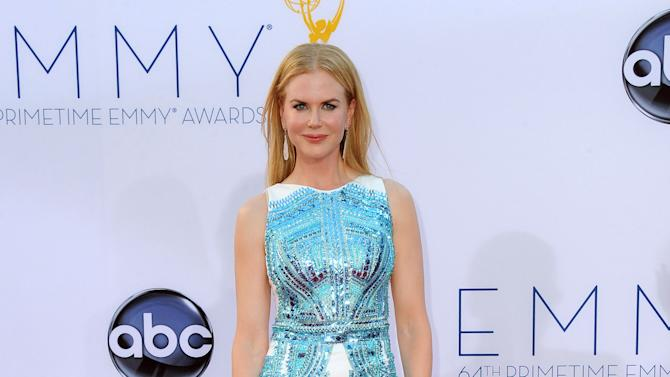Actress Nicole Kidman arrives at the 64th Primetime Emmy Awards at the Nokia Theatre on Sunday, Sept. 23, 2012, in Los Angeles.  (Photo by Jordan Strauss/Invision/AP)