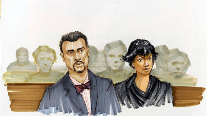 This courtroom sketch shows Jennifer Hudson right, and her fiance David Otunga looking on in the courtroom during the first day of William Balfour's murder trial at the Cook County Criminal Court in Chicago, Monday, April 23, 2012. Balfour is charged in the 2008 murder of the mother, brother and nephew of Oscar winner Jennifer Hudson. (AP Photo/Tom Gianni)