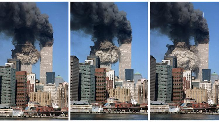 FILE - This Sept 11, 2001 combination of five file photos shows the south tower of the World Trade Center collapsing in New York. (AP Photo/Jim Collins, File)