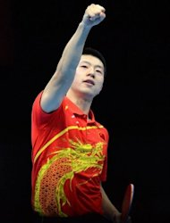 China's Ma Long reacts during the men's team table tennis semifinal China vs Germany of the London 2012 Olympic Games in London. Olympic champion Zhang Jike suffered a shock defeat as China survived a couple of unexpected wobbles before beating Germany 3-1 to reach the final of the men's team event on Monday