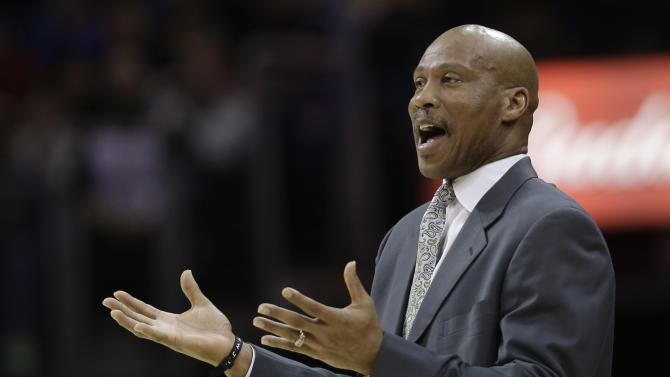 Cleveland Cavaliers head coach Byron Scott reacts during the first quarter of an NBA basketball game against the Oklahoma City Thunder, Saturday, Feb. 2, 2013, in Cleveland. The Cavaliers won 115-110. (AP Photo/Tony Dejak)
