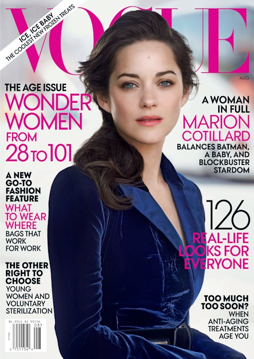 "This cover image provided by Vogue shows the August 2012 issue of ""Vogue,"" featuring French actress Marion Cotillard that will be available on newsstands on July 24. It's possible that Cotillard could"