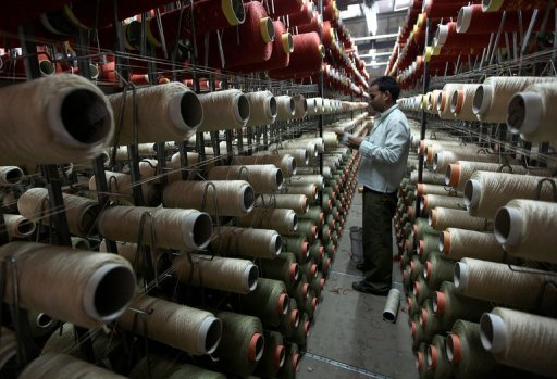 &lt;p&gt;An Indian employee checks reels of thread on a carpet weaving machine at a factory in the Bari Brahmana industrial area of Jammu in July 2012. India is expected Friday to announce its worst quarterly economic growth figures in three years, with economists saying there is scant hope for a swift turnaround in Asia&#39;s third-biggest economy.&lt;/p&gt;