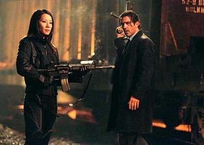 Lucy Liu and Antonio Banderas in Warner Brothers' Ballistic: Ecks Vs. Sever