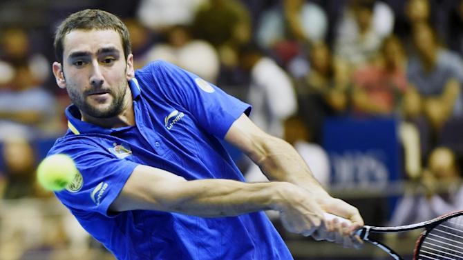 Croatia's Marin Cilic at the International Premier Tennis League competition in Singapore on December 3, 2014