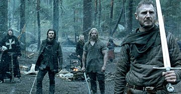David Thewlis as Hospitaler, Orlando Bloom as Balian, Jouko Ahola as Odo and Liam Neeson as Godfrey of Ibelin in 20th Century Fox's Kingdom of Heaven