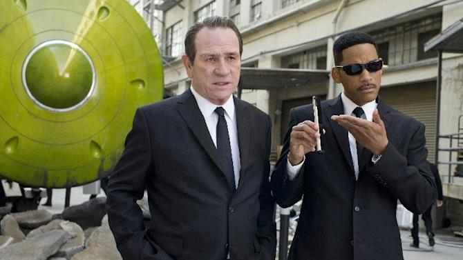 "In this film image released by Sony Pictures, Tommy Lee Jones, left, and Will Smith star are shown in a scene from ""Men in Black 3."" (AP Photo/Columbia Pictures-Sony, Saeed Adyani)"