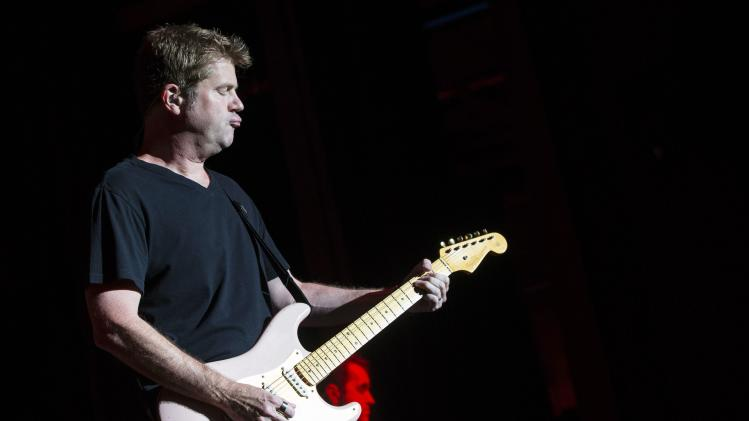 Bassist Scheff of rock band Chicago performs at the Greek theatre in Los Angeles