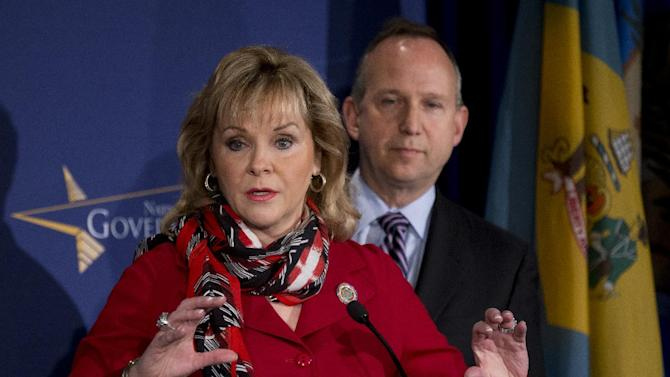 "National Governors Association Vice Chariman Gov. Mary Fallin of Oklahoma, left, with Chairman Gov. Jack Markell of Delaware, speaks during a news conference at the NGA Winter Meeting in Washington, Saturday, Feb. 23, 2013. U.S. governors urged Washington to avoid spending cuts that would affect states' defense and federal agencies, called the ""sequester,"" and expressed concerns that a looming end to a stopgap spending measure and another deadline to raise the federal debt ceiling would hamper their economic recovery.  (AP Photo/Manuel Balce Ceneta)"