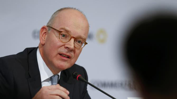 Commerzbank Chief Executive Blessing addresses the bank's annual news conference in Frankfurt