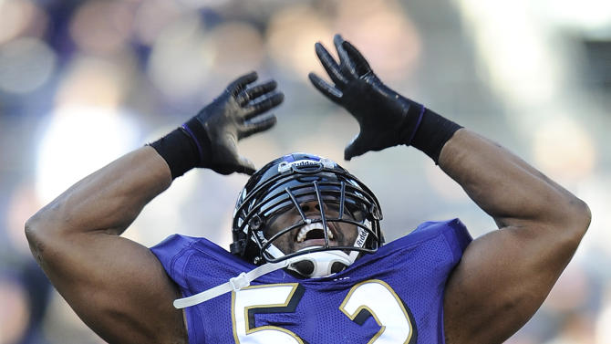 Baltimore Ravens inside linebacker Ray Lewis tries to pump up the crowd during a break in play in the first half of an NFL football game against the Cleveland Browns in Baltimore, Saturday, Dec. 24, 2011. (AP Photo/Nick Wass)