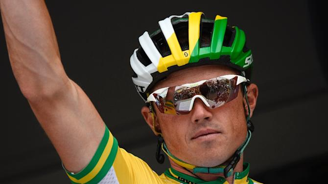 Australian cycling star Simon Gerrans, shown July 12, 2014, has broken a collarbone in a training accident and will not defend his Tour Down Under title, his team Orica GreenEdge says