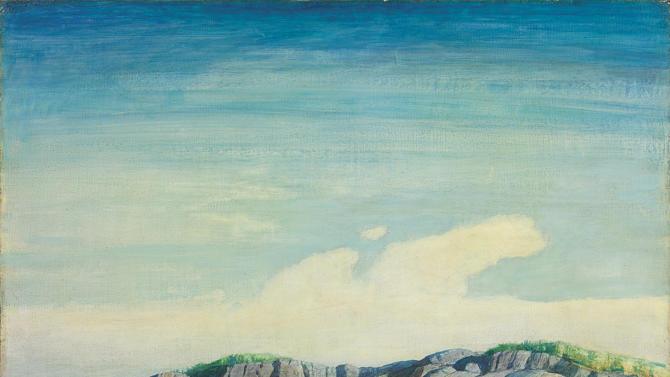 """This image provided by Christie's shows N.C. Wyeth's 1938 """"Norry Seavey Hauling Traps Off Blubber Island,"""" an oil on Masonite that is estimated to fetch $300,000-500,000 when it will be sold at auction by Christie's in New York.  The sale on May 23, 2013 includes 13 works by N.C., Andrew and Jamie Wyeth. (AP Photo/Christie's)"""
