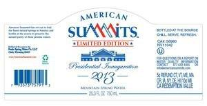 American Summits Urges Public to 'Drink American' and Releases Limited Edition Glass Bottled Mountain Spring Water Featuring Presidential Inauguration Commemorative Label