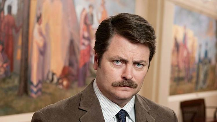 "Nick Offerman stars as Ron Swanson in ""Parks and Recreation."""