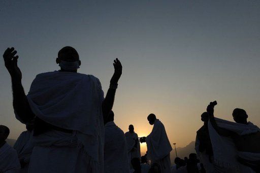 <p>Muslim pilgrims pray on Mount Arafat, near the holy city of Mecca. </p>