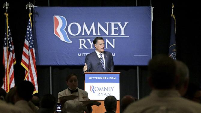 Lunch is served as Republican presidential candidate and former Massachusetts Gov. Mitt Romney speaks at a campaign fundraising event, the first of which reporters' cameras were allowed in, at The Grand America in Salt Lake City, Utah, Tuesday, Sept. 18, 2012.  (AP Photo/Charles Dharapak)