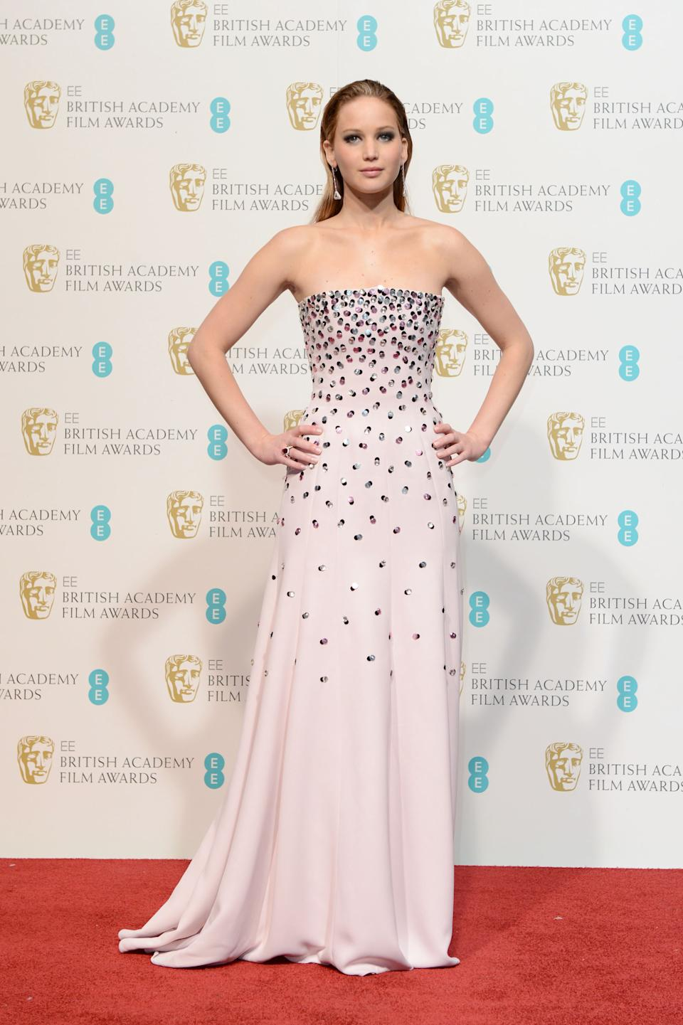 Actress Jennifer Lawrence poses backstage at the BAFTA Film Awards at the Royal Opera House on Sunday, Feb. 10, 2013, in London. (Photo by Jon Furniss/Invision/AP)
