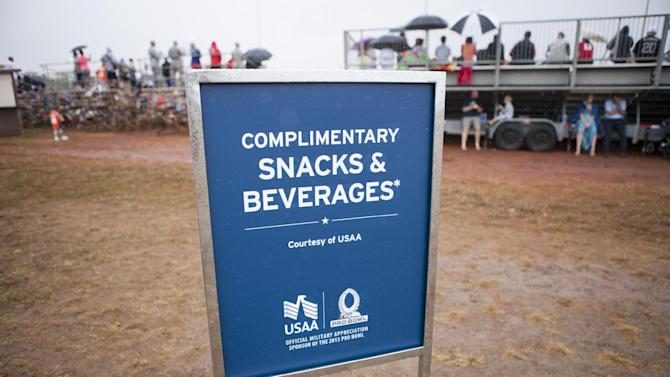 Complementary snacks and beverages are provided to fans during NFL Pro Bowl Practice at Joint Base Pearl Harbor Hickam, Thursday, Jan. 24. 2013 in Honolulu.  (Marco Garcia/AP Images for USAA)