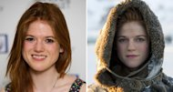 Rose Leslie in London in March 2012 (left), and as Ygritte in &#39;Game of Thrones&#39; (right) -- HBO/Helen Sloan/Getty Images