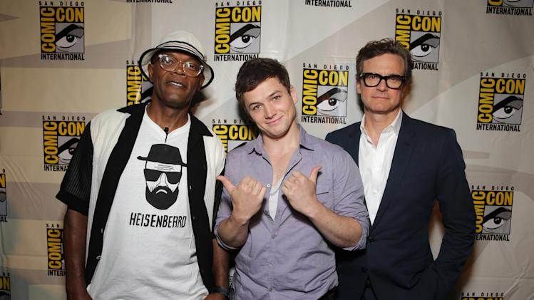 Samuel L. Jackson, Taron Egerton and Colin Firth seen at Twentieth Century Fox Panel at 2014 Comic-Con on Friday, July 25, 2014, in San Diego, Calif. (Photo by Eric Charbonneau/Invision for Twentieth Century Fox/AP Images)