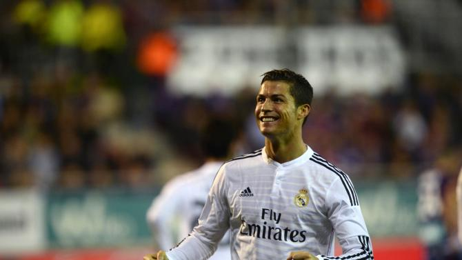Real Madrid's Cristiano Ronaldo celebrates a goal during their Spanish first division soccer match against Eibar in Eibar