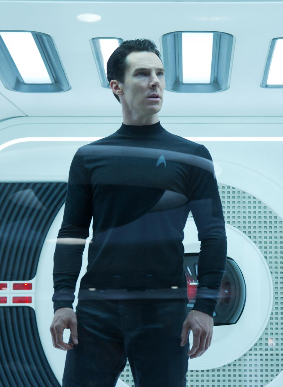 "This undated publicity film image released by Paramount Pictures shows Benedict Cumberbatch as John Harrison in a scene in the movie, ""Star Trek Into Darkness,"" from Paramount Pictures and Skydance Productions. (AP Photo/Paramount Pictures, Zade Rosenthal)"