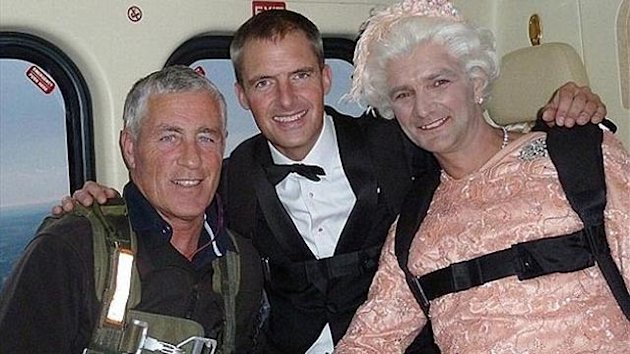 Mark Sutton (centre), the stuntman who played James Bond during the London 2012 Olympic opening ceremony