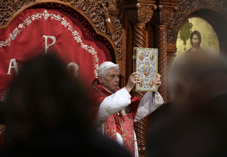 Pope Benedict XVI  leads a ceremony in St. Paul Basilica in Harissa, near Beirut, Friday, Sept. 14, 2012. Pope Benedict XVI started a three-day visit to Lebanon on Friday. During his visit, the Pope said he would meet with Lebanese authorities as well as Christians from Lebanon and other nearby countries.(AP Photo/Alessandra Tarantino)