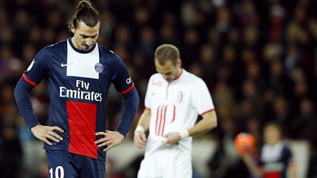 Paris St Germain's Zlatan Ibrahimovic reacts during their French Ligue 1 soccer match against Lille at the Parc des Princes Stadium in Paris December 22, 2013. REUTERS