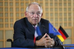 German Finance Minister Wolfgang Schaeuble attends a news conference at the Bercy Finance Ministry in Paris