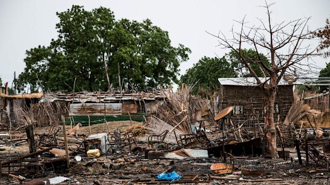 Businesses in Melut in Upper Nile state on June 13, 2015, shortly after their destruction during fighting