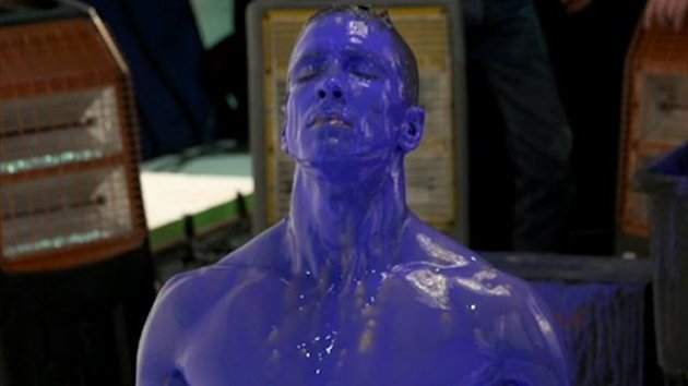 Fernando Torres poses in blue paint for the launch of Chelsea's 2013/14 kit (Adidas)