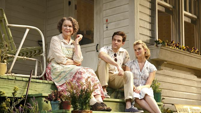 """This undated theater image released by Boneau/Bryan-Brown shows, from left, Ellen Burstyn, Ben Rappaport and Maggie Grace from a production of the Roundabout Theatre Company's """"Picnic."""" (AP Photo/Boneau/Bryan-Brown, Joan Marcus)"""