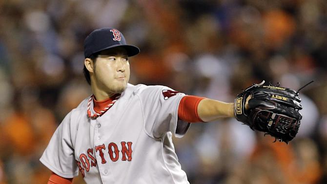Boston Red Sox relief pitcher Junichi Tazawa, of Japan, throws to the Baltimore Orioles in the ninth inning of a baseball game, Friday, Sept. 19, 2014, in Baltimore. (AP Photo/Patrick Semansky)