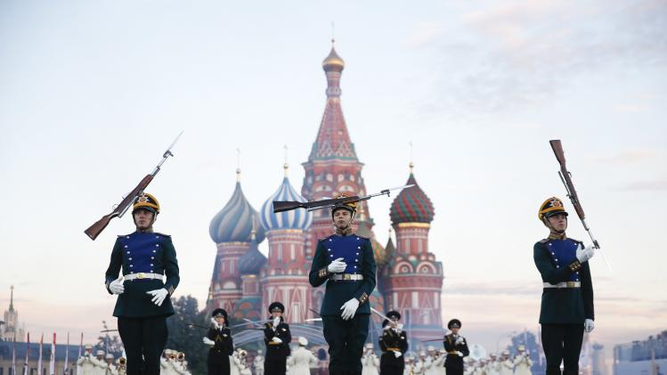 "Participants perform during the International Military Music Festival ""Spasskaya Tower"" in Moscow"