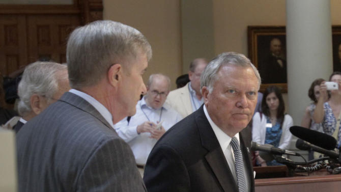 Gov. Nathan Deal  concludes his news conference in the Capitol to discuss the findings of the special investigation of alleged cheating on test scores in the Atlanta Public School System on Tuesday, July 5, 2011 in Atlanta.  Deal said 44 of the 56 schools investigated took part in cheating. Investigators also found that 38 principals were wither responsible for the cheating or were directly involved in it. And they determined that 178 teachers and principals cheated. Of those, 82 confessed to the misconduct.  (AP Photo/Atlanta Journal & Constitution, Bob Andres)
