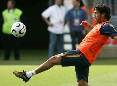 Spain forward Raul controls the ball during a World Cup soccer training session in Stuttgart