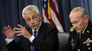 Secretary of Defense Chuck Hagel and General Martin Dempsey hold media briefing