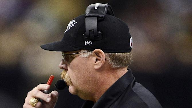 Philadelphia Eagles head coach Andy Reid watches from the sideline during the second half of an NFL football game against the New Orleans Saints at Mercedes-Benz Superdome in New Orleans, Monday, Nov. 5, 2012. The Saints won 28-13. (AP Photo/Bill Feig)