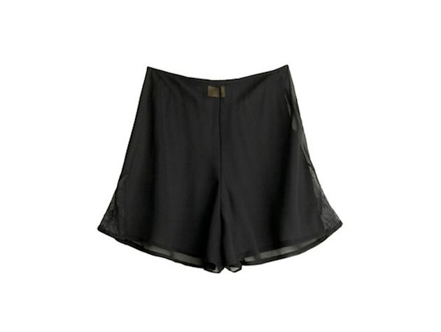 These black shorts with chiffon overlay and a touch of lace are oh so feminine.  ModCloth…