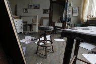 A stool sits in the middle of the room during a preview tour of the home and studio of artist Andrew Wyeth Monday, April 23, 2012 in Chadd's Ford, Pa. The studio will be open for tours in the summer of 2012 by the Brandywine River Museum. (AP Photo/Alex Brandon)