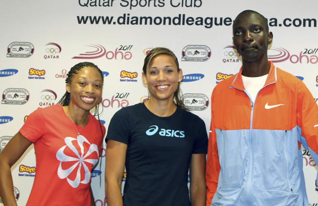 From US runner Allyson Felix, US hurdler Lolo Jones and Kenya's  middle distance runner Asbel Kiprop, during  a press conference on the eve of the IAAF Diamond League series in Doha, Thursday May 5, 2