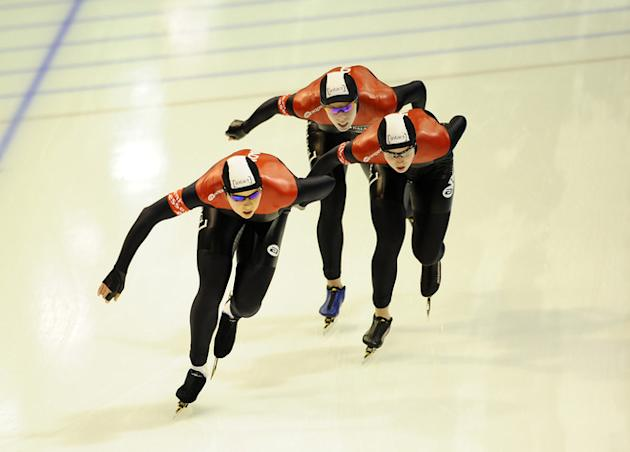 Brittany Schussler, Christine Nesbitt And Cindy Klassen Of Canada Compete In The Team Pursuit Women Race At The Essent Getty Images