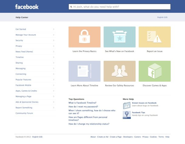 This image provided by facebook shows the website&#39;s redesigned help center, developed to make it easier to navigate and find what you need help with on the site or its mobile applications. Though it&#39;s only fully accessible on Facebook&#39;s website, the new help center was designed to look and feel more like a mobile app, says Terry Guo, product manager at the Menlo Park, California-based social media company. ( AP Photo/Facebook)