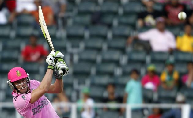 South Africa's captain de Villiers plays a shot during their first ODI against India in Johannesburg