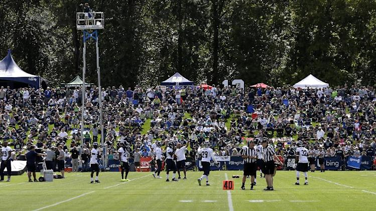 Seattle Seahawks fans watch the team's NFL football camp practice Friday, July 25, 2014, in Renton, Wash. (AP Photo)